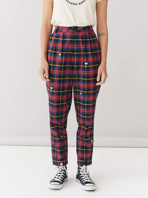 Lazy oaf Lo X Peanuts Character Repeat Check Pants Red foto 3