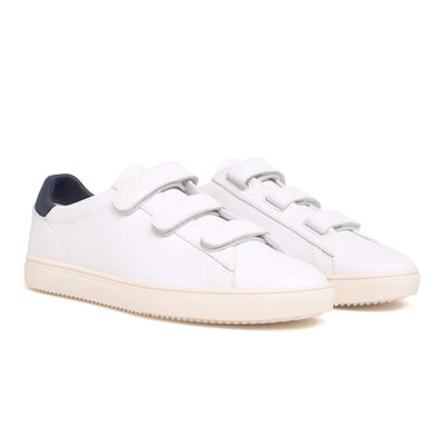 scarpe clae BRADLEY VELCRO WHITE MILLED TUMBLED LEATHER