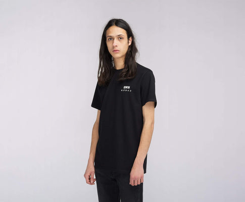 t-shirt edwin EDWIN LOGO CHEST TS BLACK GARMENT WASH