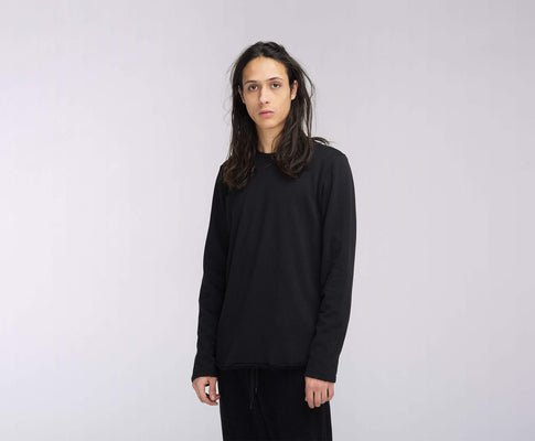 t-shirt edwin TERRY TS LS BLACK GARMENT WASH