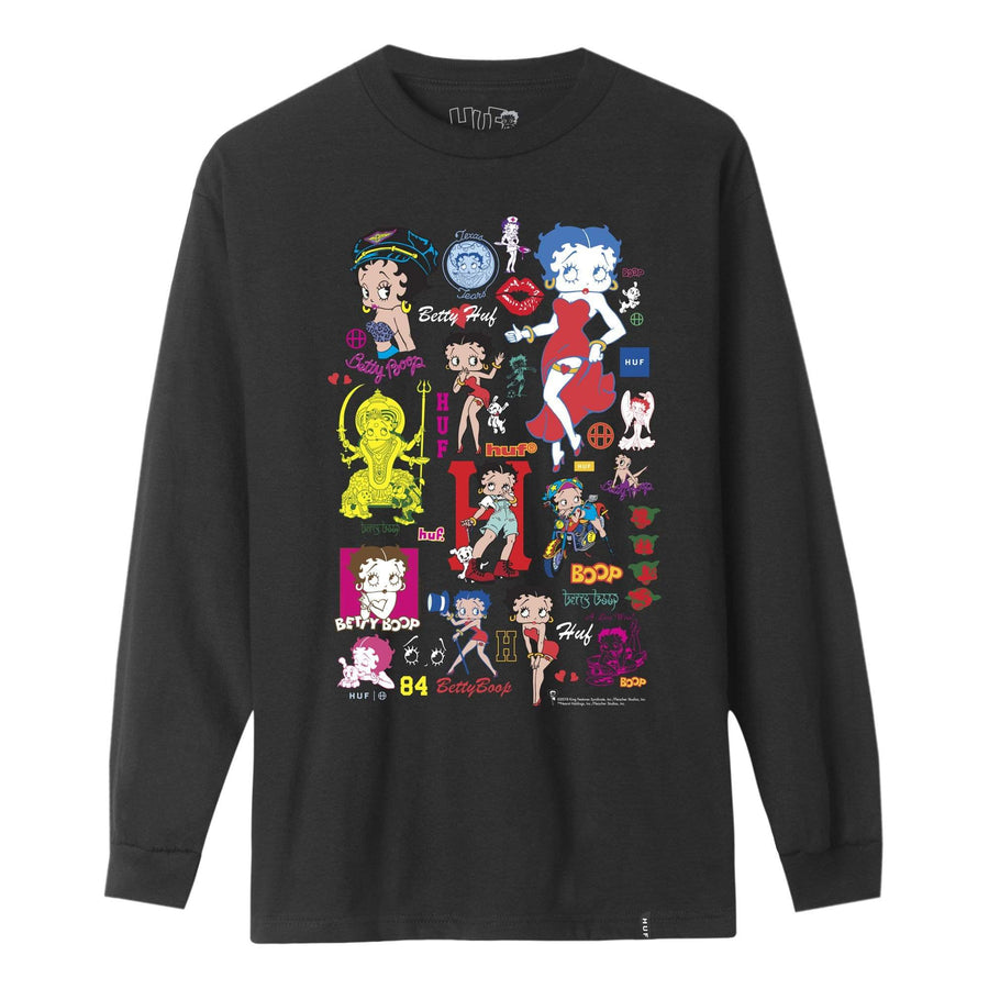 huf t-shirt,Huf Betty Boop Decals L/S Tee Black, image 1