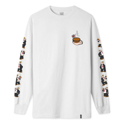 t-shirt huf WIMPY L/S TEE WHITE