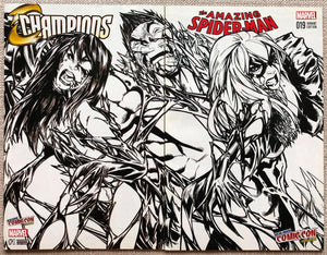 Amazing Spider-man #19 / Champions #1 Set Ramos Connecting Variant (B&W) NYCC