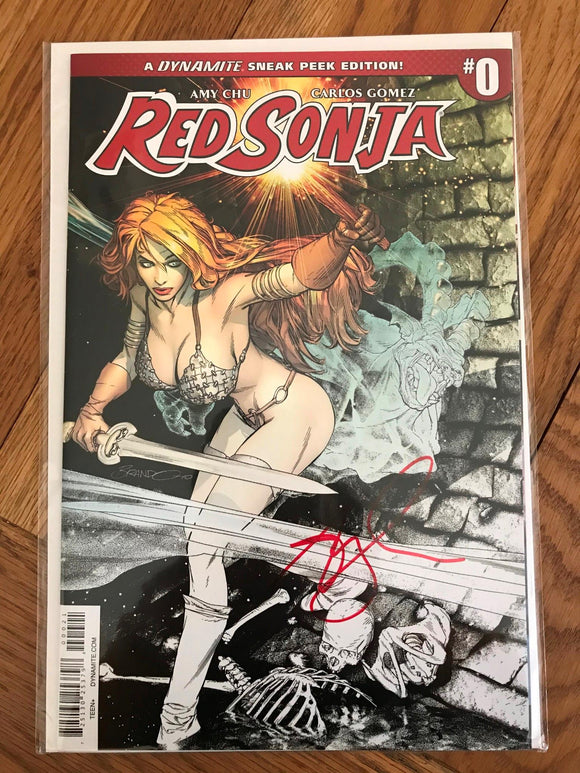 Red Sonja #0 Brandon Peterson Colour Mix Variant.  Signed Amy Chu. COA