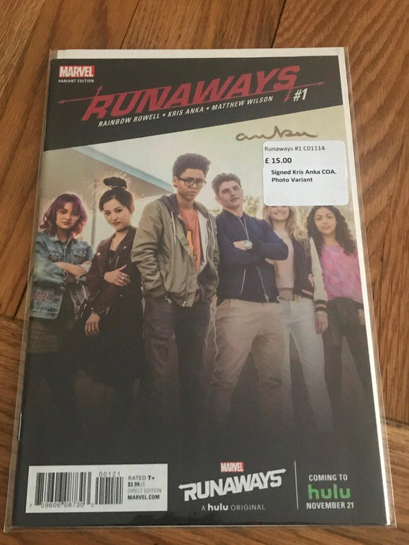 Runaways #1 Signed Kris Anka COA Photo Variant