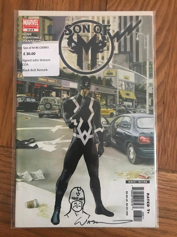 Son of M #6 Signed John Watson COA Black Bolt Remark