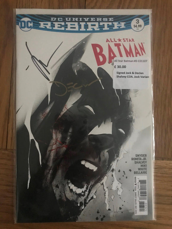 All Star Batman #3 Signed Jock & Declan Shalvey COA Jock Variant