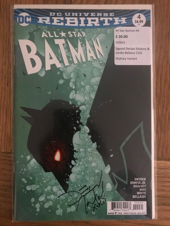 All Star Batman #4 Signed Declan Shalvey & Jordie Bellaire COA Shalvey Variant