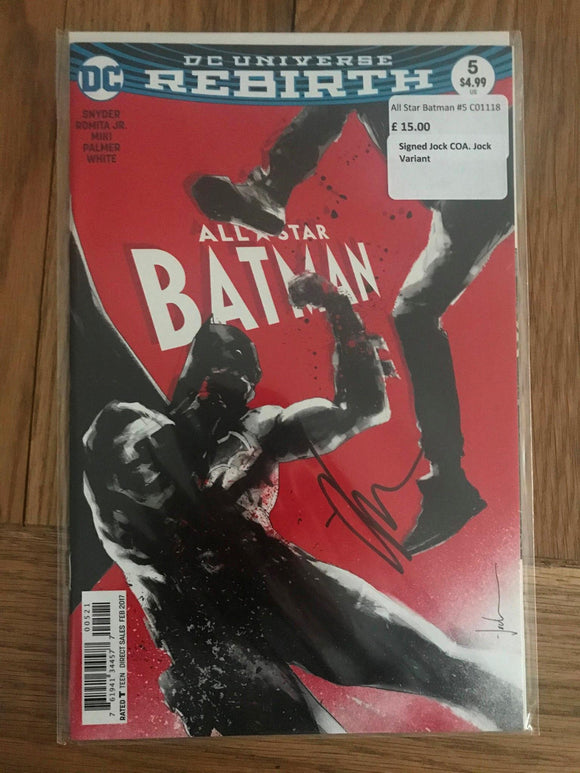 All Star Batman #5 Signed Jock COA Jock Variant