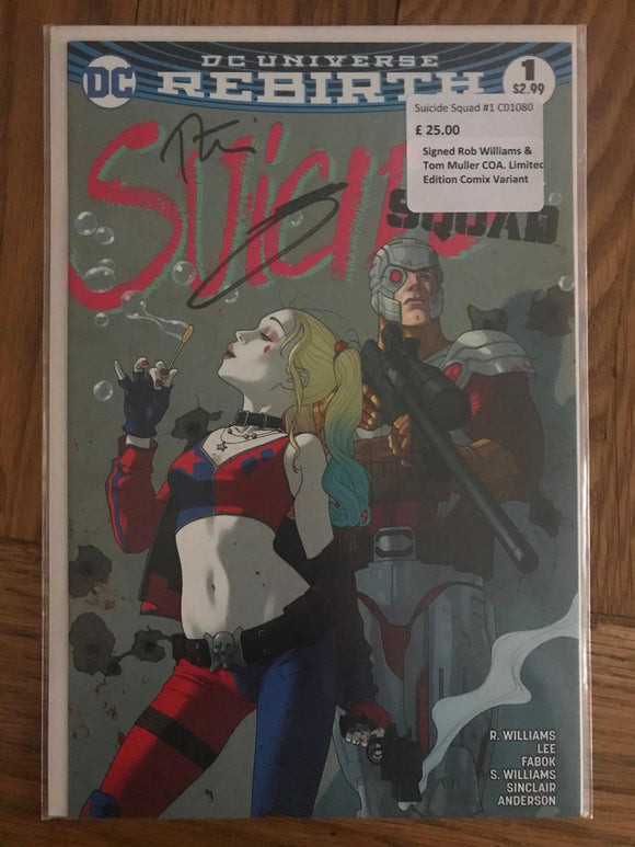 Suicide Squad #1 Signed Rob Williams & Tom Muller COA Limited Edition Comix Vari