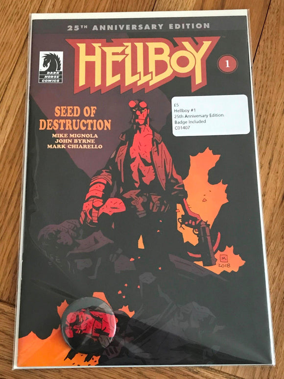 Hellboy #1 25th Anniversary Edition. Badge Included