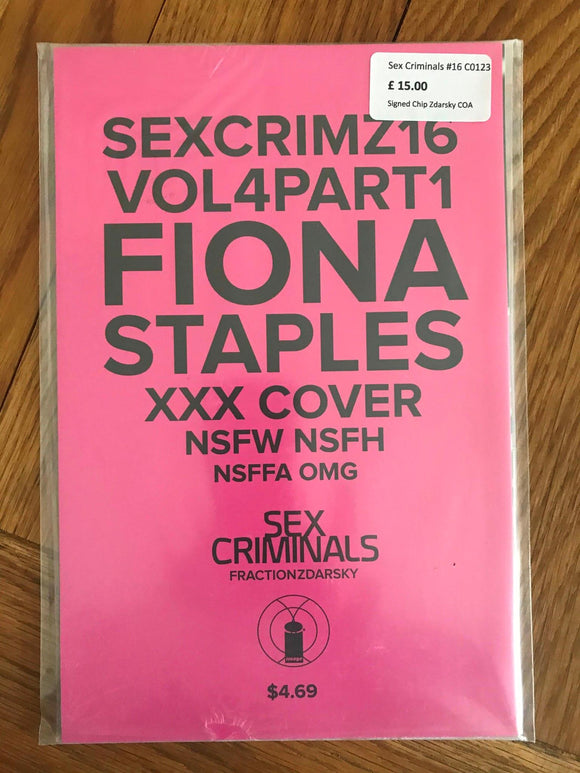 Sex Criminals #16 Signed Chip Zdarsky COA