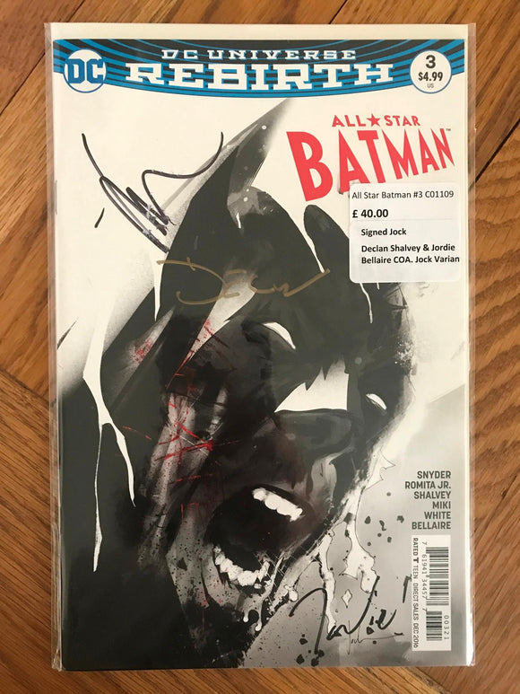 All Star Batman #3 Signed Jock, Declan Shalvey & Jordie Bellaire COA Jock Varian