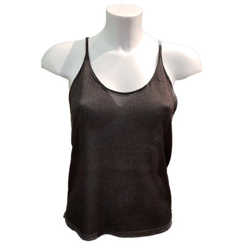 Tabaroni, Tank-Top aus anthrazitfarbenem Lurex