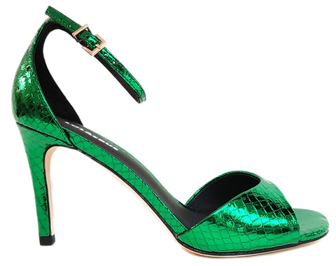 Lola Cruz, geprägte Highheel-Sandalette in Metallicgreen