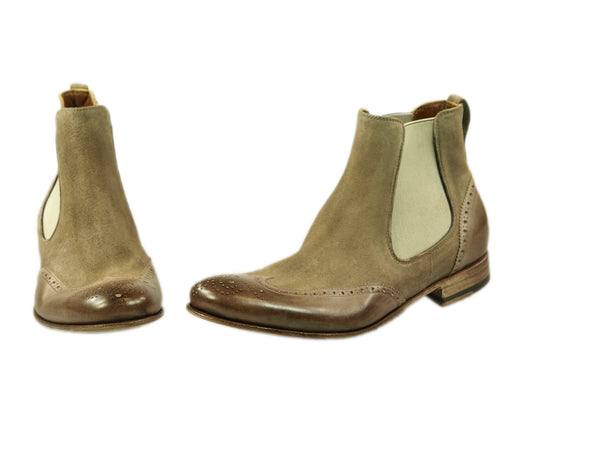 Chelsea Boots, Benson, gewaschens Leder in taupe, Budapester Muster