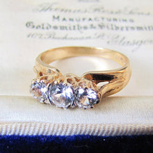 Load image into Gallery viewer, 1970s Vintage 9ct Gold 3 Stone Trilogy Ring, Clear White Zircons - MercyMadge