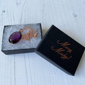 Edwardian 9ct Rose Gold Paste Amethyst Pendant & Chain