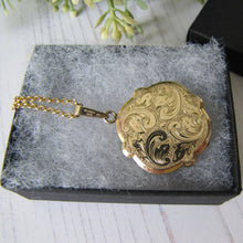 Load image into Gallery viewer, Edwardian Revival Rolled Gold Engraved Fern Locket, Andreas Daub, Germany