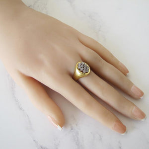 Vintage 14ct Gold White Spinel Signet Ring