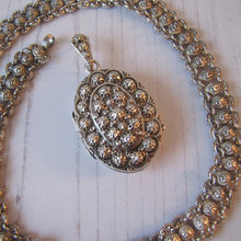 Load image into Gallery viewer, Victorian Silver Bookchain Necklace & Locket - MercyMadge