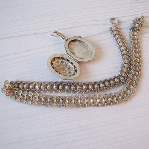 Victorian Silver Bookchain Necklace & Locket - MercyMadge
