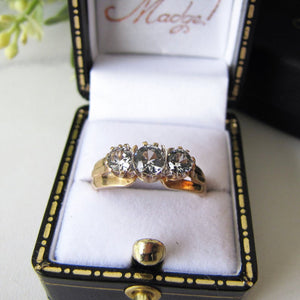 1970s Vintage 9ct Gold 3 Stone Trilogy Ring, Clear White Zircons - MercyMadge