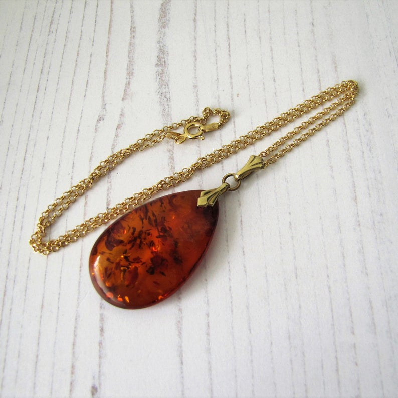 Vintage Baltic Amber Teardrop Pendant & Chain