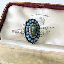 画像をギャラリービューアに読み込む, Antique Austro Hungarian Turquoise & Pearl Ring - MercyMadge