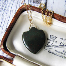 Load image into Gallery viewer, Victorian Carved Bloodstone Shield Pendant Fob - MercyMadge