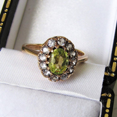Vintage 9ct Gold Peridot & Spinel Halo Ring - MercyMadge