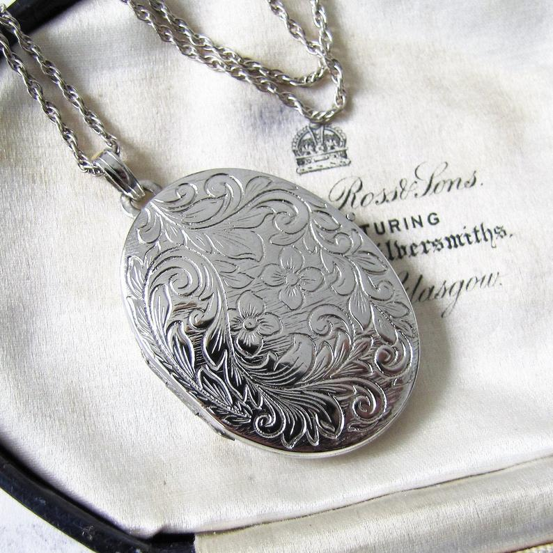 Vintage Victorian Revival English Silver Locket & Rope Chain