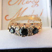 Load image into Gallery viewer, Vintage 9ct Gold Edwardian Revival Sapphire & Diamond Boat Ring