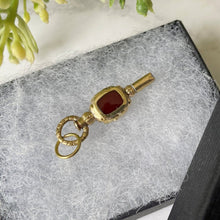 画像をギャラリービューアに読み込む, Antique Solid 15ct Gold Watch Key Pendant. Victorian/Georgian Bloodstone & Carnelian 2 -Sided Watch Chain Fob. Antique Jewelry Gift
