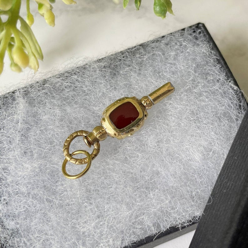 Antique Solid 15ct Gold Watch Key Pendant. Victorian/Georgian Bloodstone & Carnelian 2 -Sided Watch Chain Fob. Antique Jewelry Gift