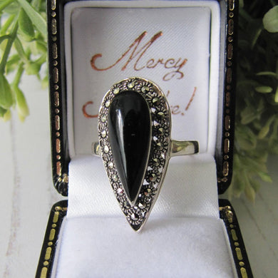 Vintage Whitby Jet, Sterling Silver & Marcasite Ring