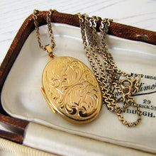 Load image into Gallery viewer, Victorian Style 9ct Gold Locket, 9ct Gold Serpentine Chain - MercyMadge