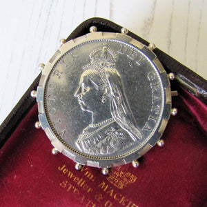 Queen Victoria Full Silver Crown Coin Brooch - MercyMadge