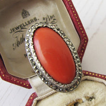 Load image into Gallery viewer, Art Deco Silver Marcasite & Red Coral Ring. 1930s Statement Ring, Sterling Silver