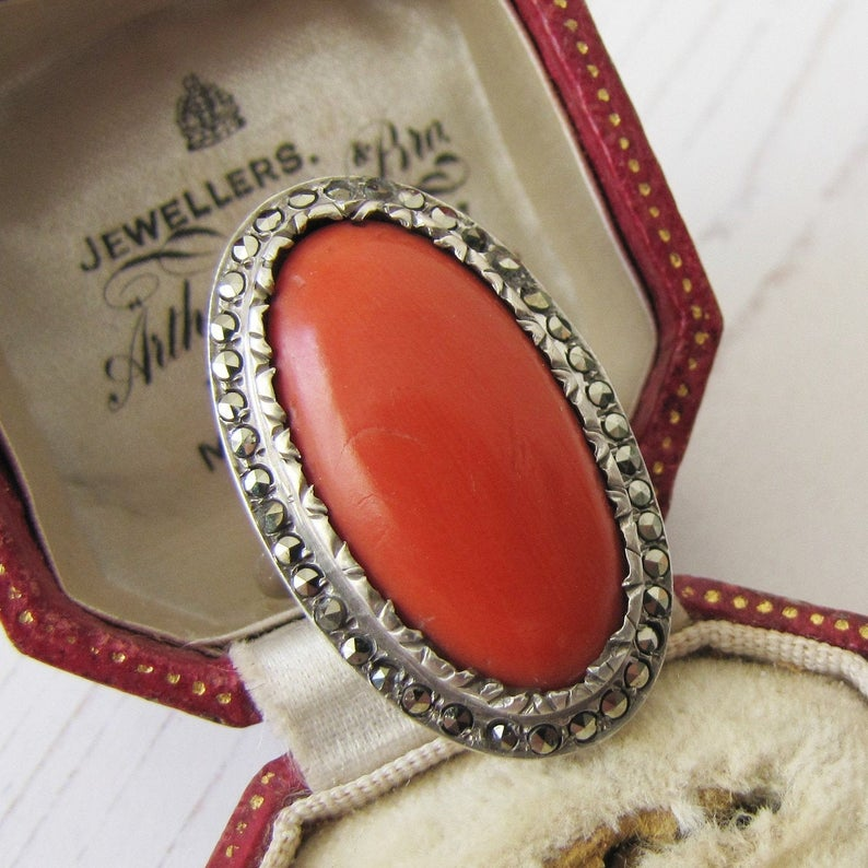 Art Deco Silver Marcasite & Red Coral Ring. 1930s Statement Ring, Sterling Silver