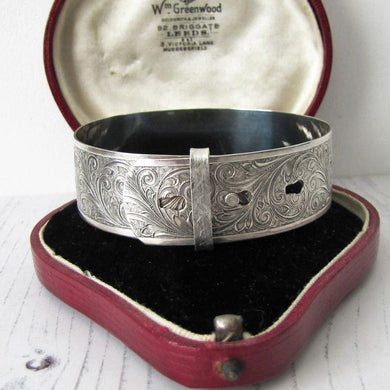 Antique English Sterling Silver Engraved Cuff Bracelet