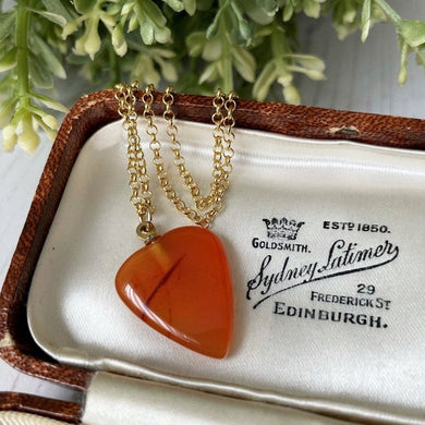 Victorian Carved Carnelian Heart Pendant. Antique Scottish Agate Heart Charm On Chain. Sweetheart Valentine Gift For Her.