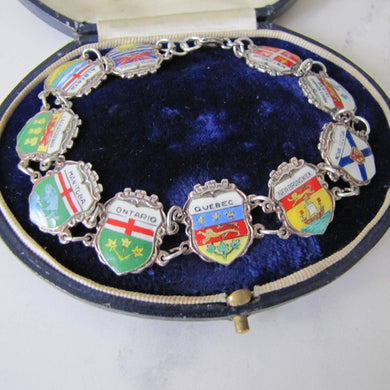 Vintage 1960s Retro Sterling Silver & Enamel Shield Bracelet, Made In Germany - MercyMadge
