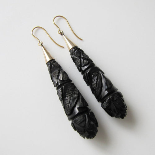 Victorian Whitby Jet Long Torpedo 9ct Gold Earrings