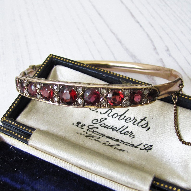 Antique 9ct Rose Gold Garnet & Mine Cut Diamond Bracelet. - MercyMadge