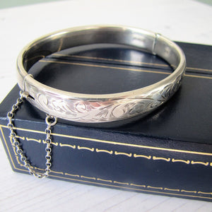 Vintage English Silver Bracelet, Boxed, Charles Horner, Aesthetic Engraved. - MercyMadge