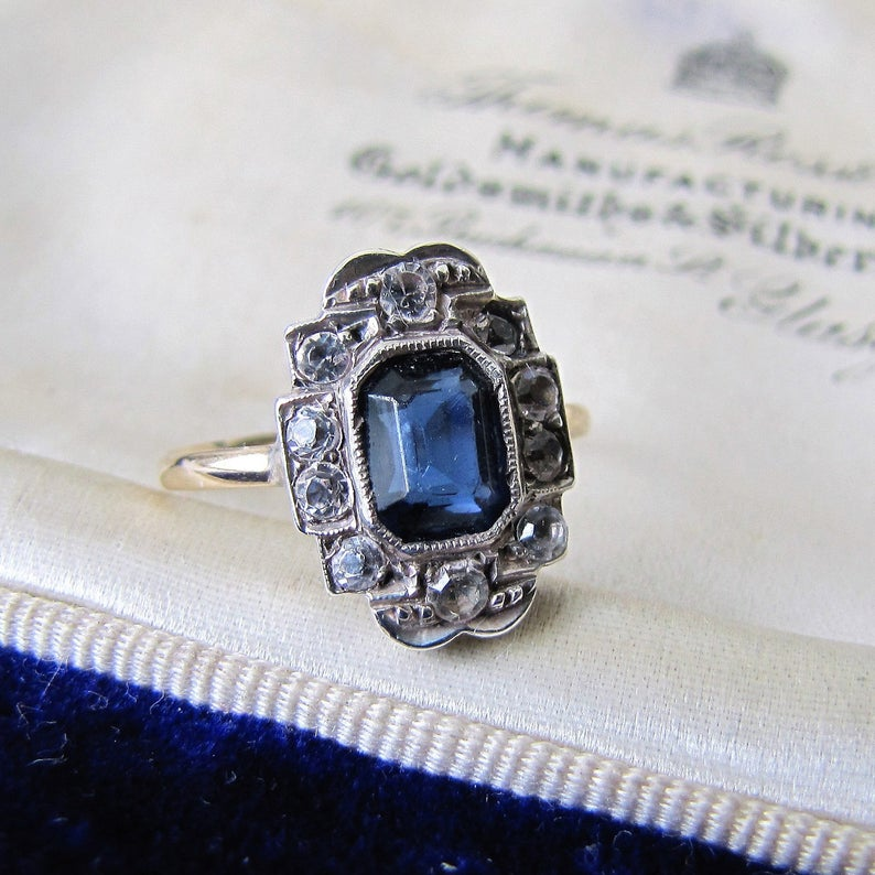 Art Deco 9ct Gold Paste Diamond & Sapphire Ring - MercyMadge