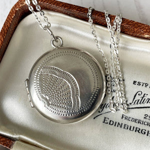 Vintage 1950s Sterling Silver Locket On Chain. Engraved Chinese Fan Round Locket. Art Nouveau Revival 2- Photo Locket