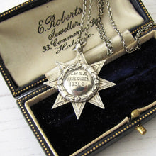 "Load image into Gallery viewer, 1920s Art Deco ""June Queen"" Star Pendant Fob With Chain - MercyMadge"