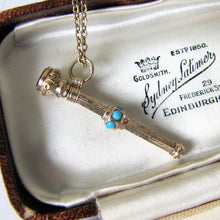 Load image into Gallery viewer, Victorian 15ct Gold & Turquoise Pencil Pendant Fob - MercyMadge